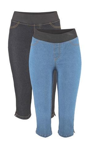 Capri džínsové legíny, dvojdielne balenie bonprix