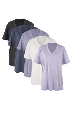 Dlhé tričko do V (5ks), krátky rukáv bonprix