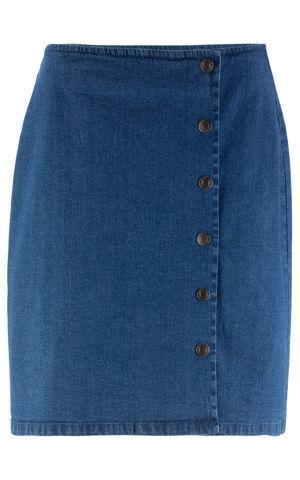 Džínsová sukňa s gombičkami v zavinovacom vzhľade bonprix