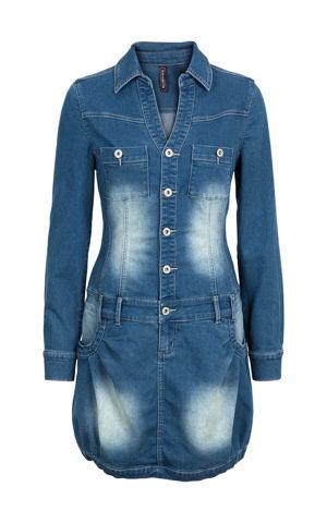 Džínsové šaty s dlhým rukávom bonprix