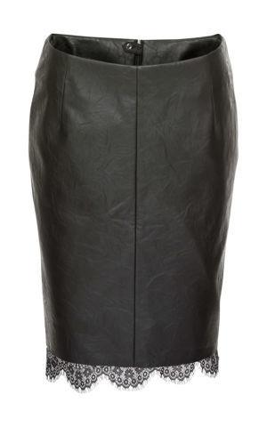 Koženková sukňa s čipkou bonprix