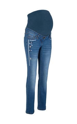 Materské džínsy s výšivkou bonprix