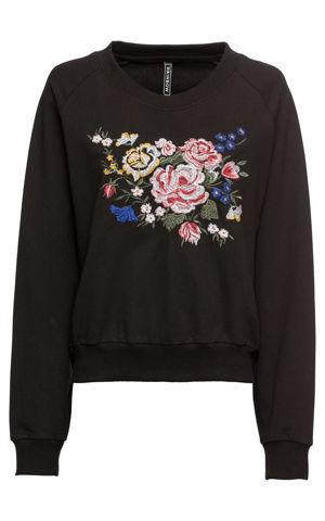Mikina Oversized s kvetovanou výšivkou bonprix