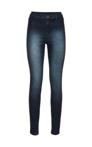 Nohavice Skinny s kontrastnými pásikmi, vysoký pás bonprix