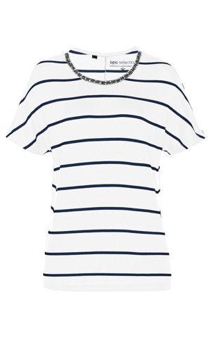 Pásikované tričko s flitrami bonprix