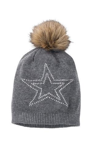 Pletená čiapka s lesklými kamienkami bonprix
