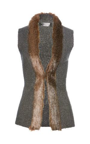 Pletená vesta s kožušinkou bonprix