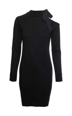 Pletené šaty so šifónovou mašľou bonprix