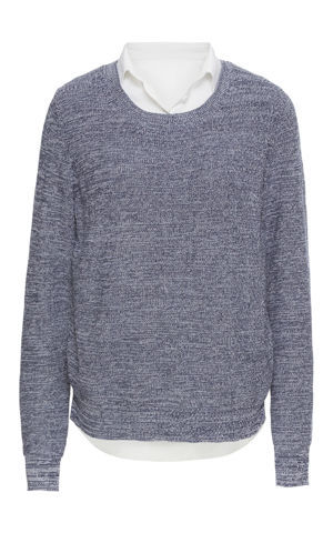 Pletený pulóver s blúzkovými prvkami bonprix