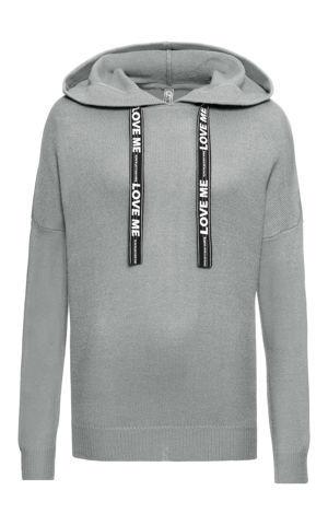Pletený pulóver s potlačenými šnúrkami bonprix