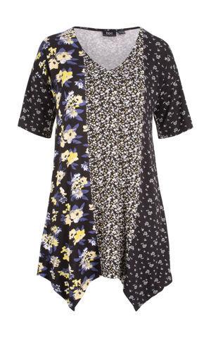 Potlačené tričko so špicatým strihom a vzorom bonprix