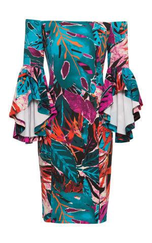 Šaty s volánikovými rukávmi a džunglovou potlačou bonprix