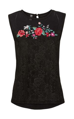 Sieťovinové tričko s čipkou a kvetmi bonprix