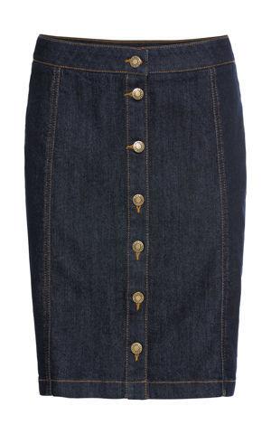 Strečová džínsová sukňa na gombičky bonprix