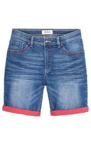 Strečové džínsové bermudy s kontrastným vyhnutím Slim Fit bonprix
