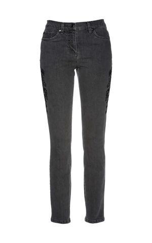 Strečové džínsy s výšivkou bonprix