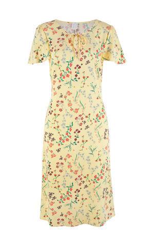 Tkané midi šaty s volánovými rukávmi bonprix