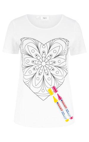Tričko na vymaľovanie (súprava s 2 edding fixkami) bonprix