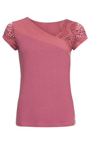 Tričko s čipkovanými rukávmi bonprix