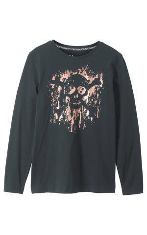 Tričko s dlhým rukávom s fóliovou potlačou bonprix