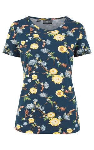 Tričko s krátkym rukávom s kvetovanou potlačou bonprix