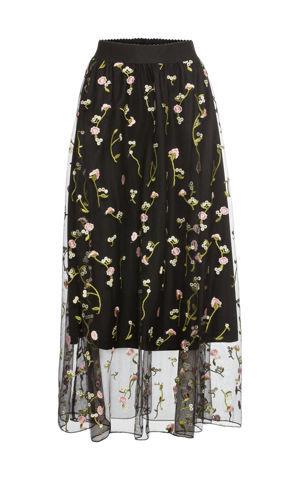 Tylová sukňa s kvetinovou vyšívkou bonprix