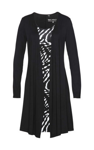 Úpletové šaty, dvojitý vzhľad bonprix