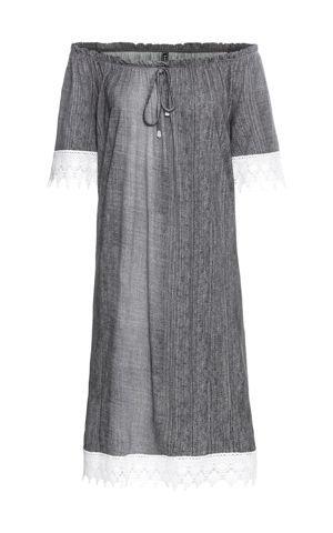 Úpletové šaty v džínsovom vzhľade bonprix