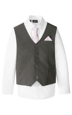 Vesta + košeľa + kravata (3-dielna súprava) bonprix